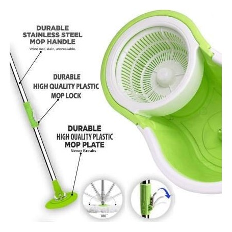 SN Plastic Home Magic Spin Mop with Bucket, Cleaning Wipe Combo Set (Medium)