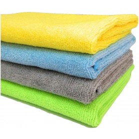 Microfibre Cleaning Cloth - 40 cm x 40 cm - 340 gsm, (Multicolor, Pack of 4)