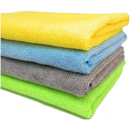 Microfibre Cleaning Cloth - 40 cm x 40 cm - 340 gsm, (Multicolor, Pack of 4) by SOBBY
