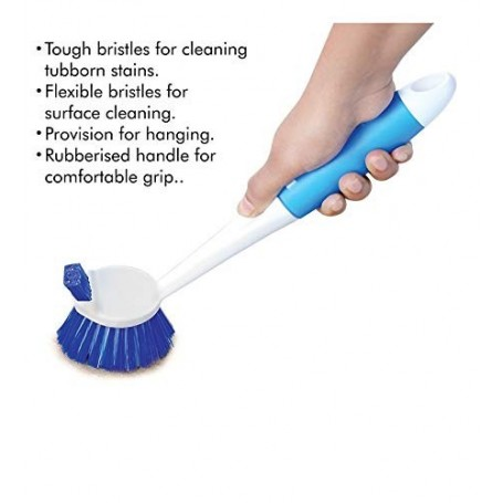 Sakoraware Plastic Dual Action Kitchen Cleaning Handy Sink and Dish Brush, Standard Size