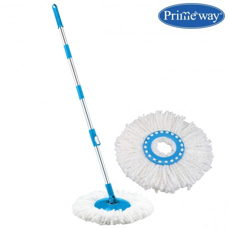Primeway Rotating Spin Mop Handle Rod Set with Disc and 2 Microfibre Refills, Blue