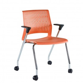 Sunon Magna Guest Waiting Chair PP Armrests and Movable 4 Castors