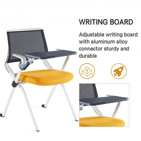 Sunon Diamond Writing Pad Chair Folding Study Chair (Orange)