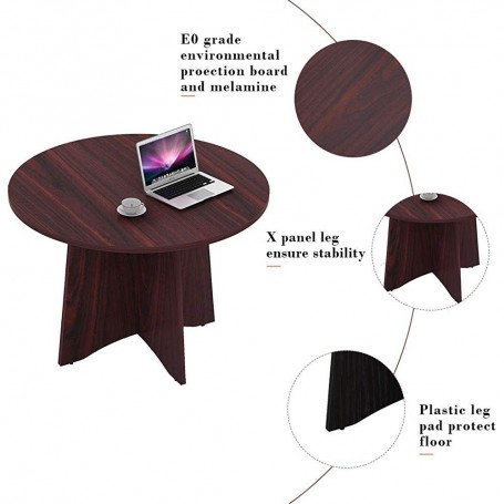 Sunon 42 Inch Dia Round Conference Table With X-Shaped Wood Panel Small Dining Table (Mahogany)