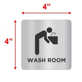 "Silver Stainless Steel Sign Board - WASHROOM - Size : 100mm X 100mm (4"" X 4"")"