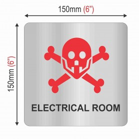 """Silver Stainless Steel Sign Board - Electrical Room - Size : 150mm X 150mm (6"""" X 6"""")"""