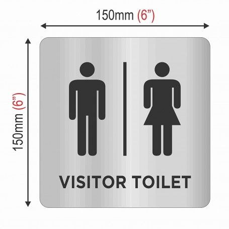 "Stainless Steel Sign Board with Backside Double Side Tape for Sticking Purpose - Visitor Toilet - Size: 150mm(6"") X 150mm(6"")"