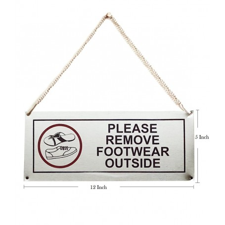 """Stainless Steel Hanging & Self Adhesive Please Remove Footwear Outside Signage Board (5""""x12"""")"""