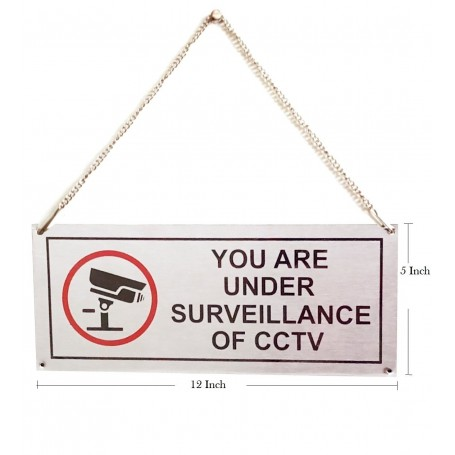 """Stainless Steel Hanging & Self Adhesive YOU ARE UNDER SURVEILLANCE OF CCTV Signage Board (5""""x12"""")"""