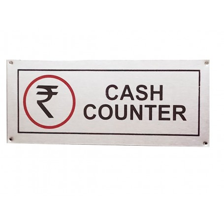 "Stainless Steel Hanging & Self Adhesive Cash Counter Signage Board (5""x12"")"