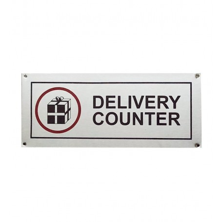 """Stainless Steel Hanging & Self Adhesive DELIVERY Counter Signage Board (5""""x12"""")"""