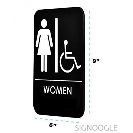 "Toilet Washroom Acrylic Lamination Sign Board Signage Board Signboard for Office Door Black White 6 "" x 9""Pack of 3"