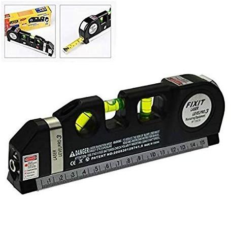 Rebzar Laser Line Pro Spirit Level 2.5 m Tape and 1/2 ft Ruler for Multiple Purposes (Black)