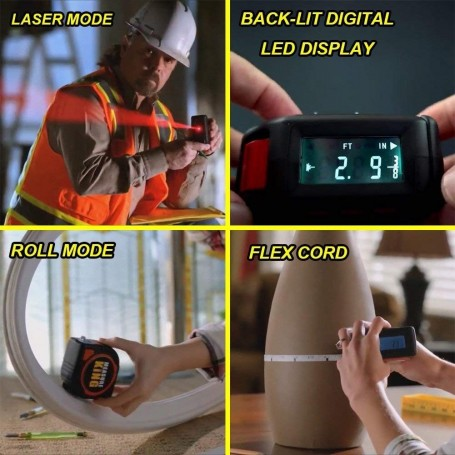 Measuring Tape with Roll Cord Mode High Accuracy Laser Digital Tape High Impact Professional Measuring Tool