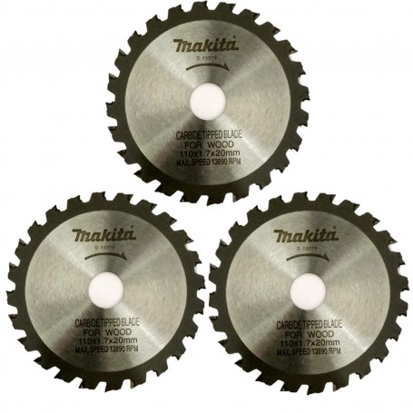 "Makita Wood Cutting TCT Saw Blade 4""/100 mm 24 Teeth (110X20X24T) -Combo of 3 Blades"