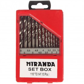Drill Bit Set Size 1/16 Inch to 1/4 Inch, Metal Box Pack of 13 Pieces