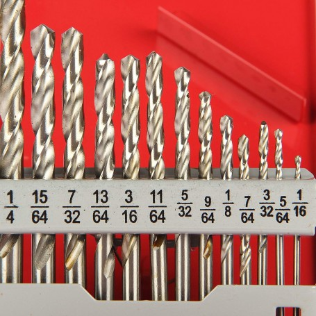 Standard Jobber Drill Bit Set Size 1/16 Inch to 1/4 Inch, Metal Box Pack of 13 Pieces